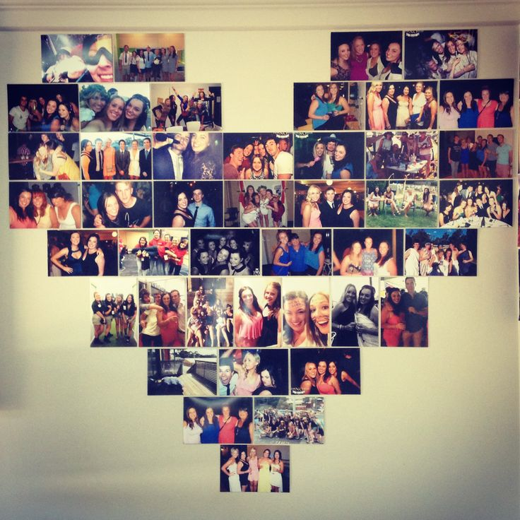 Heart photo collage uni wall res life home decor for Collage mural ideas