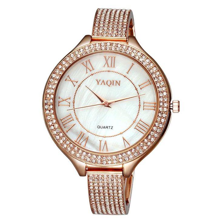 Cheap YAQIN Delicate Shining Rhinestone Bracelet Style Watch Simple Online beige | Tomtop