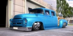 Sweet 1956 F-250 Crew-Cab W/ suicide doors| Bagged, Woodie style grain, on box... A True Custom Ford...