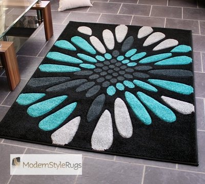 Teal Blue Black and Grey Burst Pattern Rug - Very Modern Design - In 2 Sizes