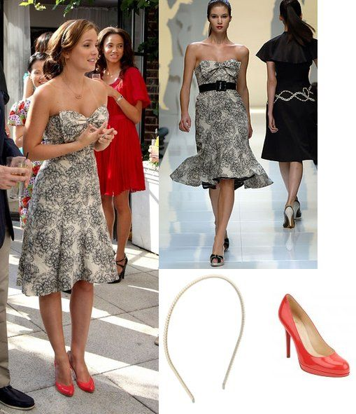 On Blair: Moschino Spring 2006 Bow Dress, Christian Louboutin New Simple Pump, Forever 21 Beaded Headband