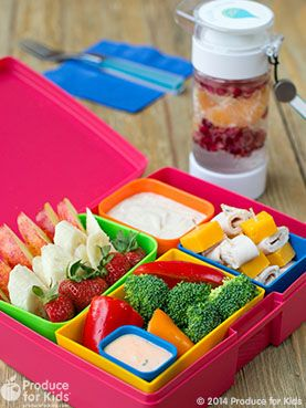 Fun Bento Fun-Due - This Fun-Due recipe is a great way to add some fun to lunchtime. Kids will love to get hands on and dip fruits and veggies. #PowerYourLunchbox @produceforkids