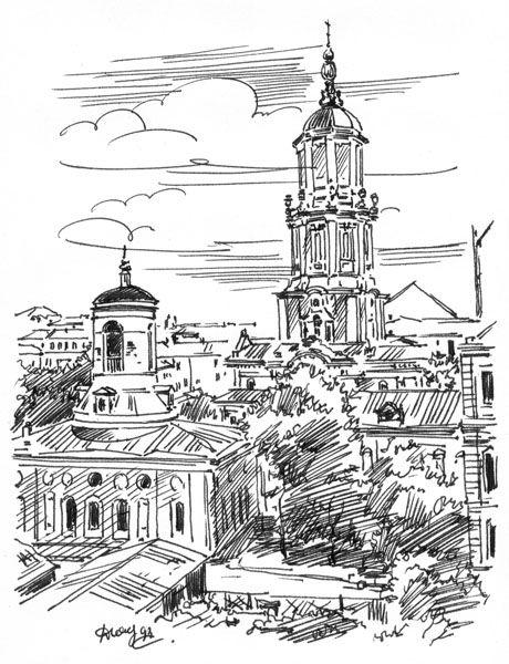 Посмотреть иллюстрацию Серафим - Меньшикова башня. Вид из окна. Зарисовка с…