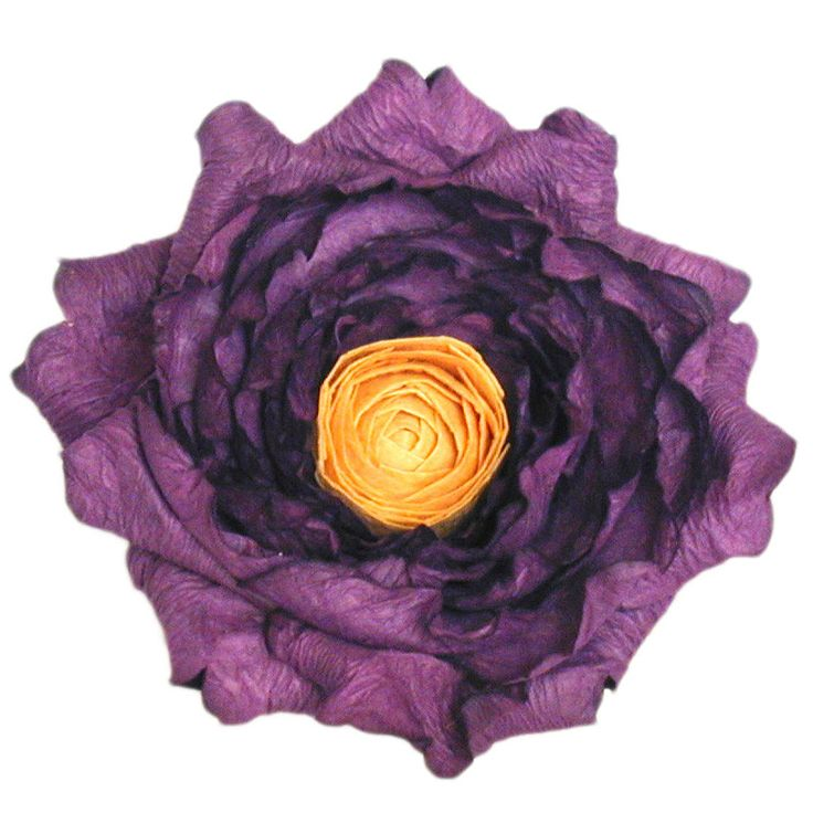 Giant Diana Rose- Purple with Yellow Centre(no stem) – Paper Flowers Australia