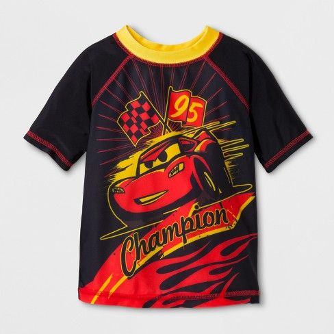 Help your little racer stay protected as he speeds toward the water with this Disney Cars Rash Guard. This awesome swim shirt keeps his torso protected from the sun's harmful rays, so he can just focus on having a great time in the water. He'll love the cartoonized image of Lightning McQueen and cool racing images, and you'll love that he can stay dry and burn-free no matter how many laps he needs to make to win his race.