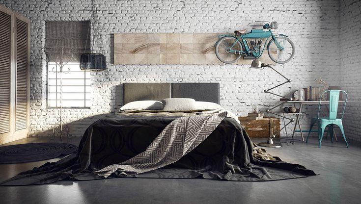 pared de ladrillo blanco en el dormitorio masculino sexy y elegante