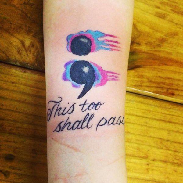 tatuagem ponto e vírgula aquarela