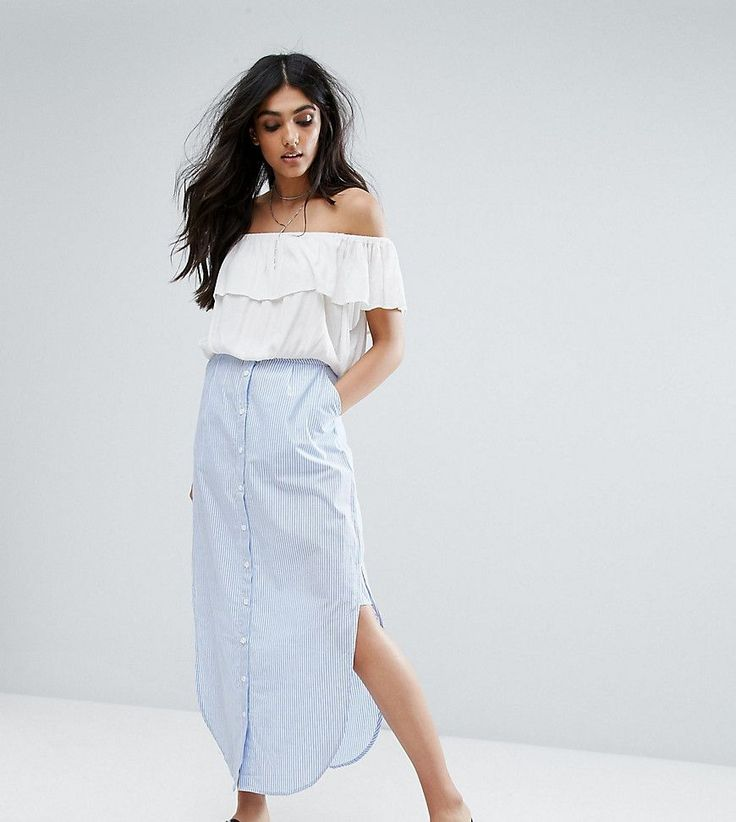 Noisy May Tall Striped Button Down Maxi Skirt - Blue