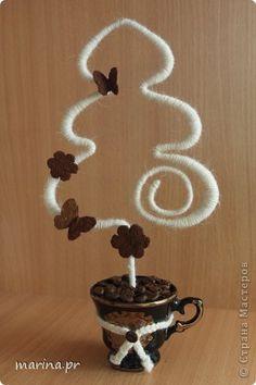 Бонсай топиарий Новый год Приятно дарить подарки Кофе Нитки фото 7