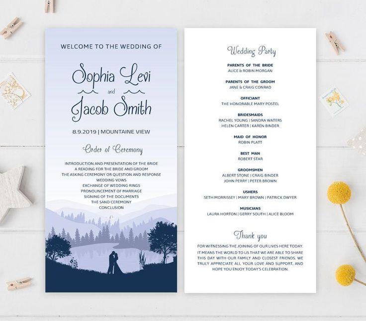 Mountain wedding programs printed on shimmer cardstock   Lake wedding   Purple wedding   Destination wedding by OnlybyInvite on Etsy