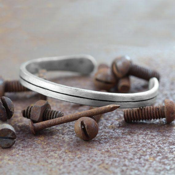 Mens Silver Bracelet Line Bangle by carpediemjewellery on Etsy