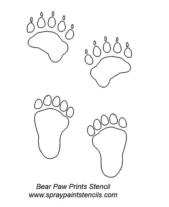 Bear Paw Prints Stencil