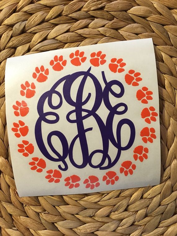 Clemson Monogrammed Vinyl Decal by MiltonMonograms on Etsy