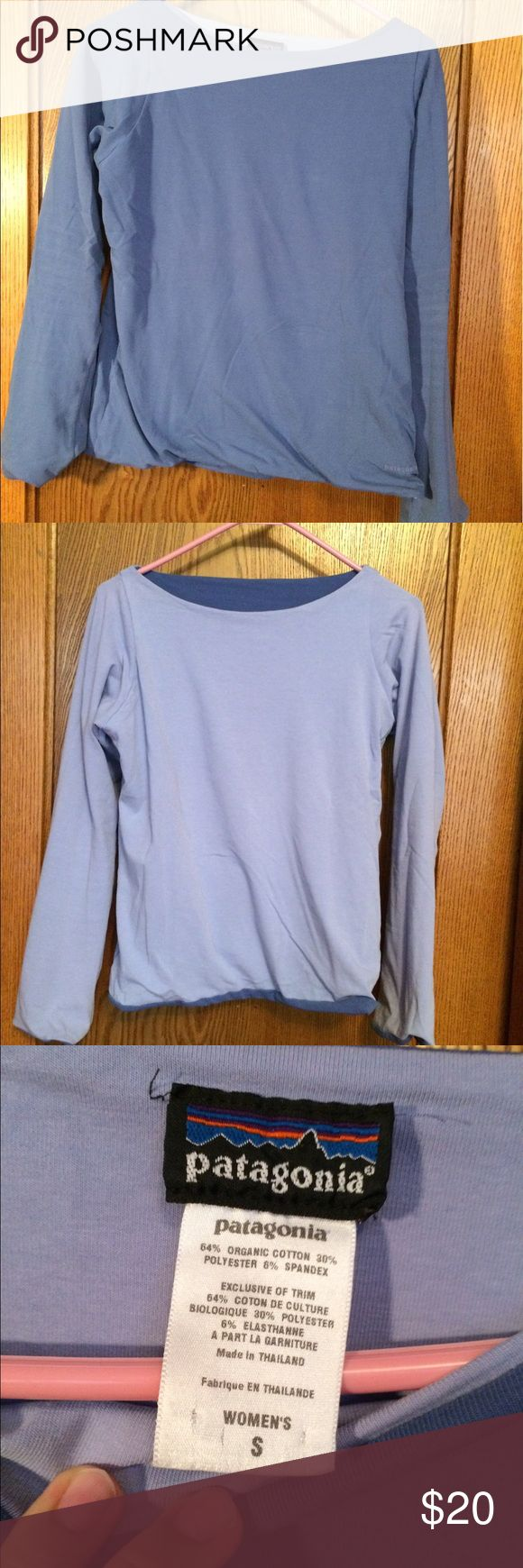 Patagonia reversible purple long sleeve top Never worn, but threw the tags away. This too is reversible, one side is dark purple and one side is light purple. Very comfortable. Patagonia Tops Tees - Long Sleeve