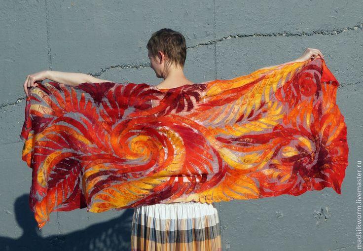 """Купить """"Феникс"""" тонкий нарядный палантин - яркие цвета, необычный подарок, яркий аксессуар"""