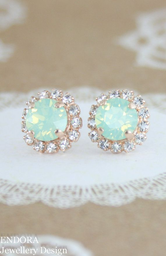 mint opal earringsmint crystal stud by EndoraJewellery on Etsy