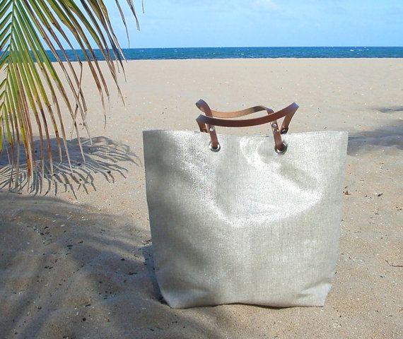 Metallic Silver Tote Bag, Casual Tote Bag, Weekend Bag, Resort Tote, Beach Bags, Handbag,Everyday Bag, Market Tote,Cool Tote Bags, Linen Bag