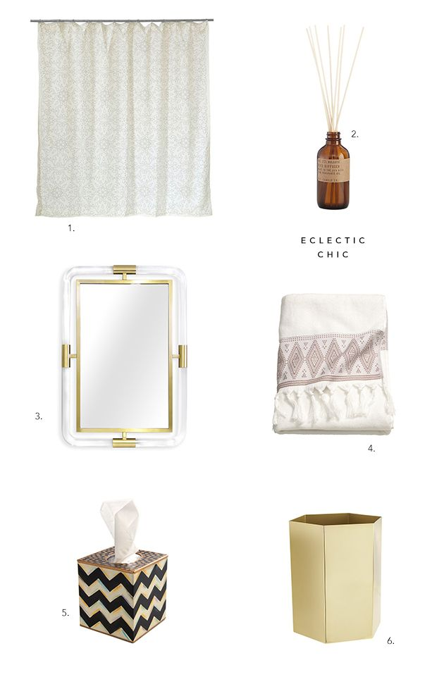 If you're an eclectic chic kind of person, try adding these accessories for the bathroom to create an updated look
