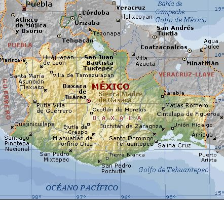 Oaxaca Mexico physical map, in the southern coast of Mexico. Many mountains cover this area: http://www.vmapas.com/Americas/Mexico/Oaxaca/Oaxaca_Physical_Map.jpg/maps-en.html
