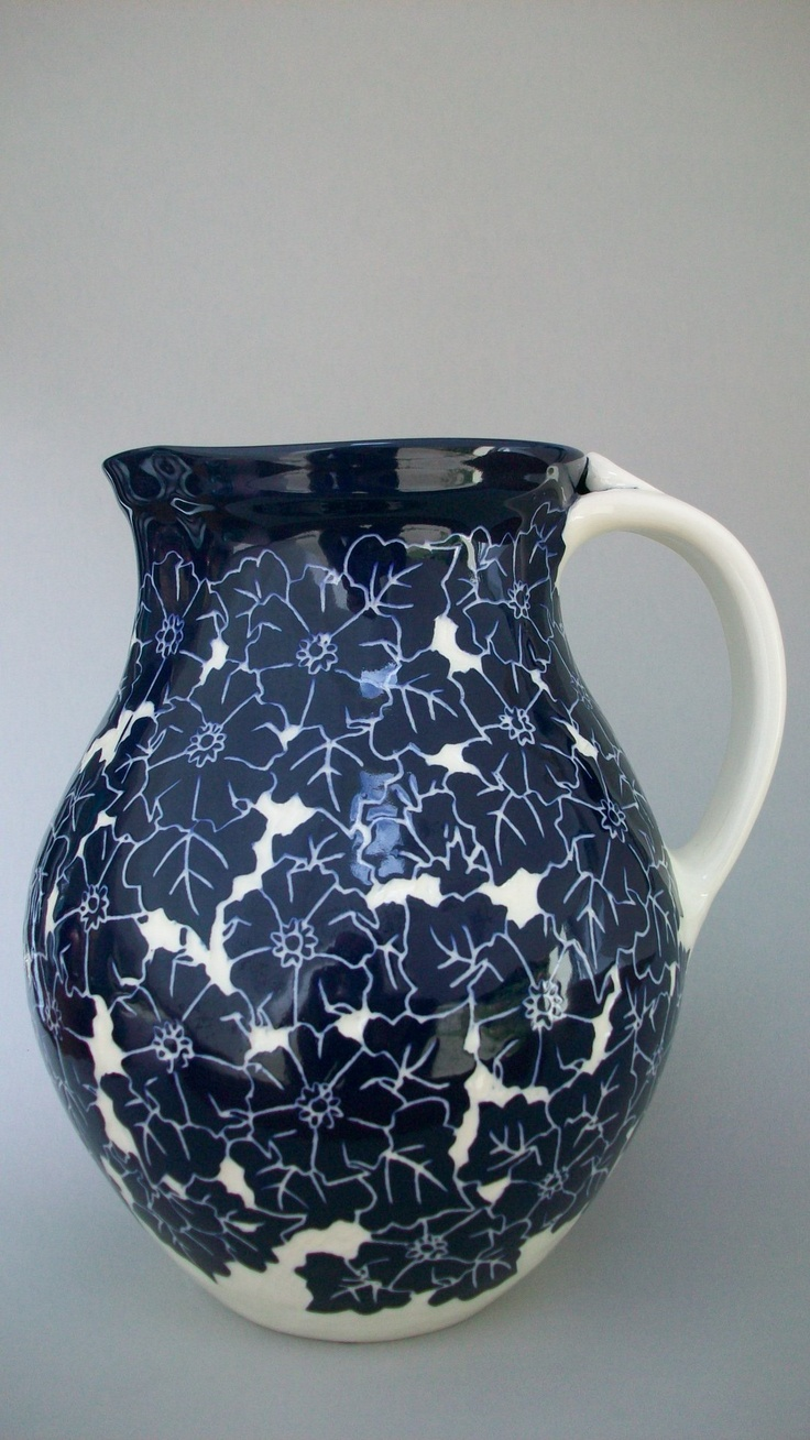 Wild Rose Pitcher. Cobalt pottery