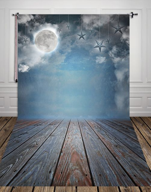 HUAYI Moon Stars Thin Art Fabric Backdrop Moon Photography Background  XT-2909