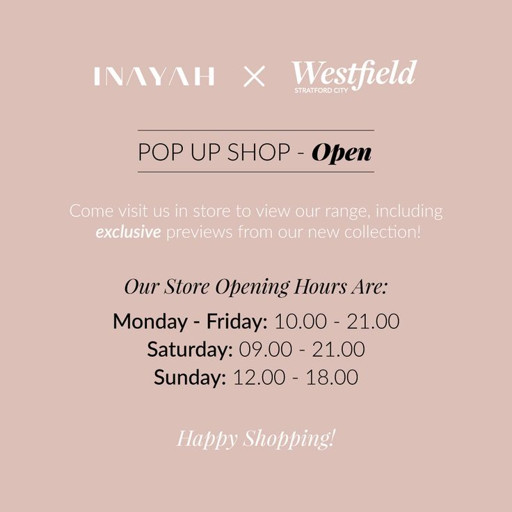 Our opening hours during the weekdays are from 10AM to 9PM, on Saturday we are open from 9AM to 9PM and on Sunday from 12PM to 6PM.  It's not necessary that you have a ticket for our Launch Week, you can still come and visit us! However, for those of you who do, you will receive a 10% discount on your final purchase. #INAYAHWestfield #LaunchWeek  www.inayah.co
