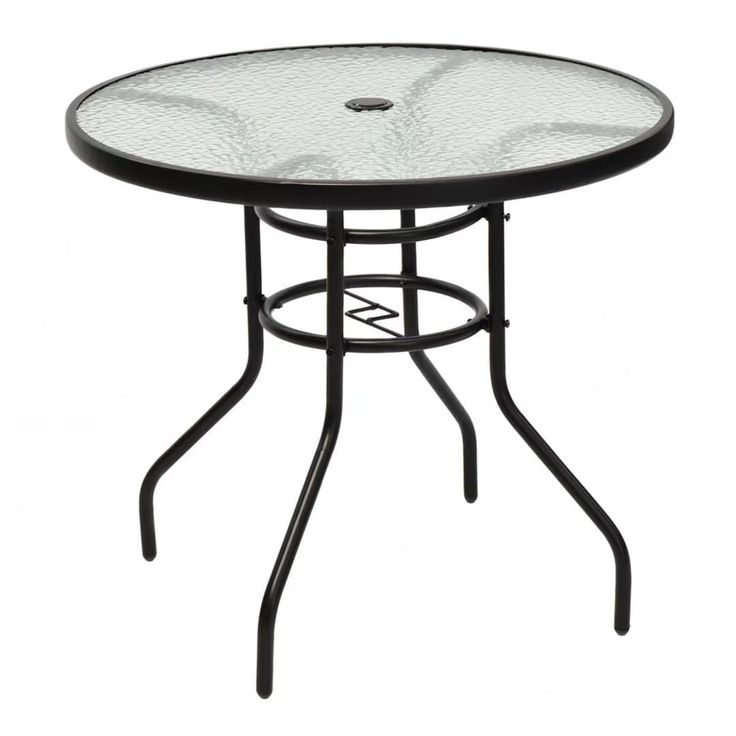 "31 1/2"" Patio Round Table Tempered Steel Frame Outdoor Garden,, Patio Furniture"