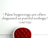 Lao Tzu New Beginnings Quote Wall Vinyl Decor Sticker U Pick Colors