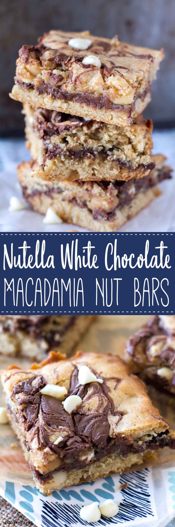 Nutella White Chocolate Macadamia Nut Bars  | Posted By: DebbieNet.com