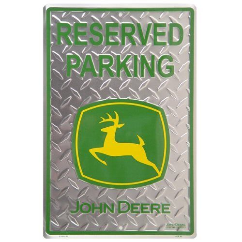 Reserved Parking John Deere Metal Sign by John Deere. $13.00. Tire Track Design Embossed Metal. Sign Reads: Reserved Parking John Deere. Sign Measures: 12W x 18H inches. Park your tractor next to this Reserved Parking John Deere Metal Sign.