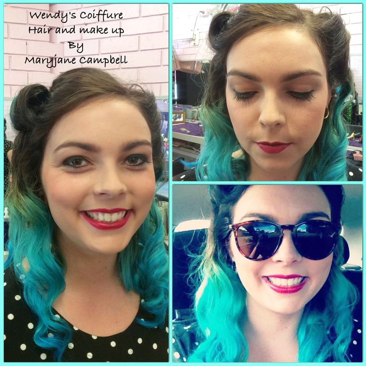 Atomic turquoise ombre, vintage waves and make up by Maryjane Campbell @ Wendy's Coiffure.