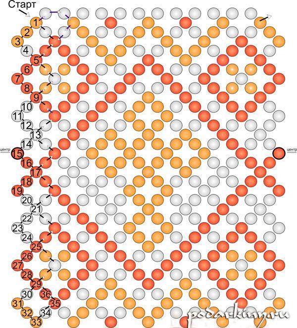 Схема красивого пояска  с крестиком для пасхального яйца