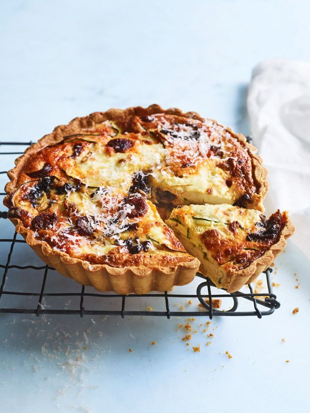 Chorizo, zucchini and caramelised onion quiche | Donna Hay