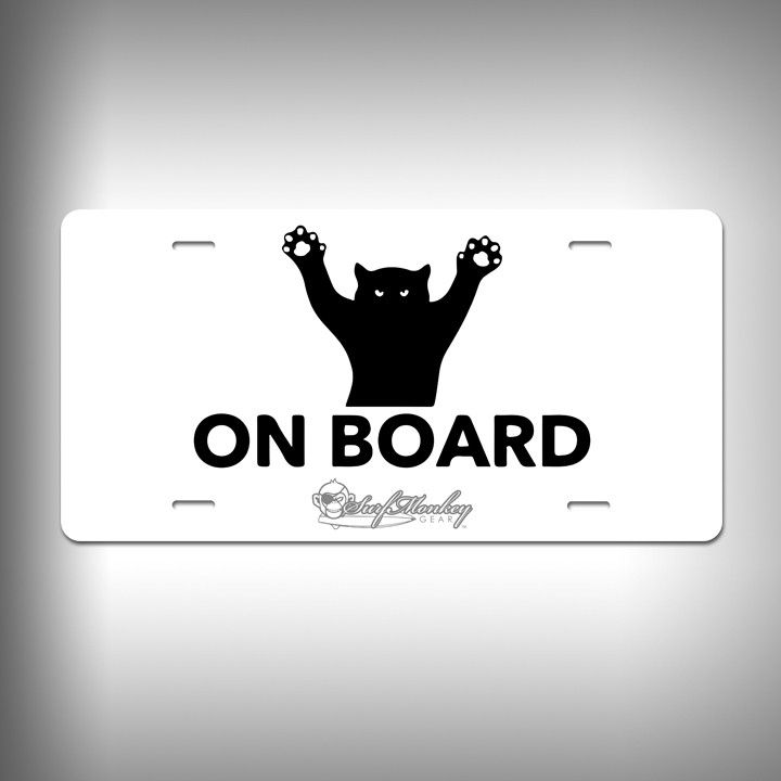 Cat on Board Custom License Plate with Custom Text and Graphics Aluminum Front Plate