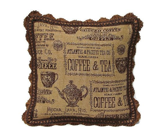 Coffee Print Burlap Pillow  Tea Print Burlap by OvationsInStyle