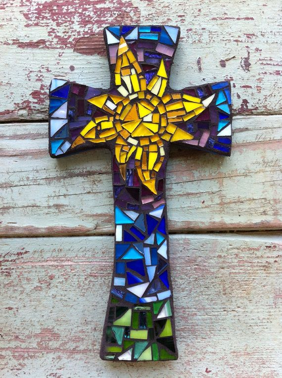 Medium Mosaic cross with Sun Purples Blues and by DeniseMosaics, $30.00