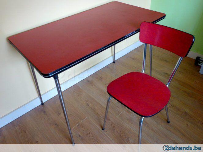 Retro formica tafel +  stoel - Te koop