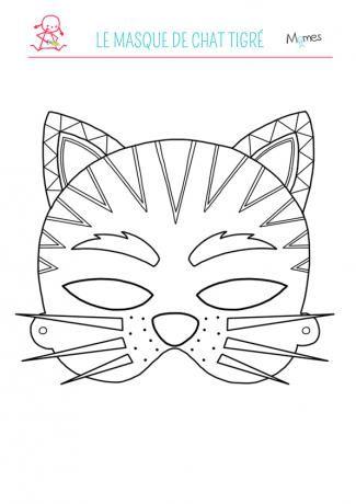 Le masque de chat tigré à colorier - Momes.net
