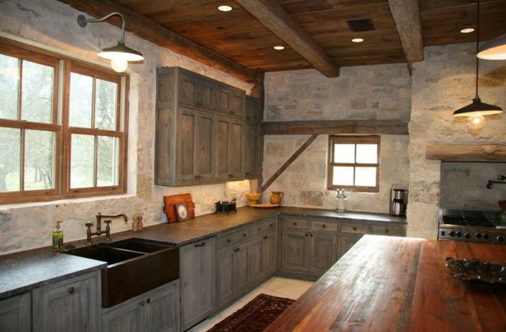 Industrial Barn Lights Shine In A Rustic Industrial Kitchen Industrial Farmhouse Kitchen