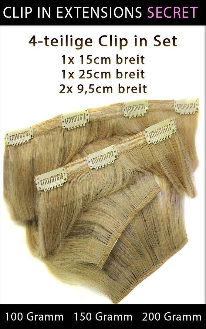 """#ECHTHAAR #CLIP_IN_EXTENSIONS """"SECRET"""" 4-Teilige Set  Echthaar Clip in Extensions """"SECRET""""  Clip in Extensions """"SECRET"""" besteht aus vier Haarteilen. Somit können Sie sich eine lang gewünschte Haarverlängerung gönnen und haben im handumdrehen eine Komplette Haarverlängerung mit Seitenpartien nur mit vier Volumige Haarteilen.  4-teilige Echthaar Clip in Extensions Set 2x 9,5cm breit 1x 15cm breit 1x 25 cm breit"""