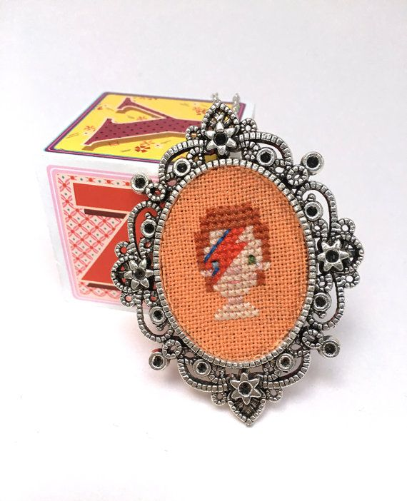 David Bowie necklace Cross stitch necklace by otterlydesign