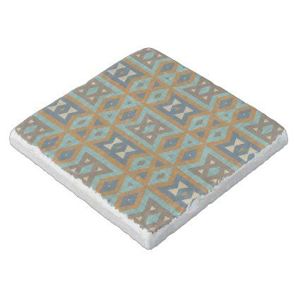 Teal Turquoise Orange Brown Eclectic Ethnic Look Stone Coaster - rustic gifts ideas customize personalize