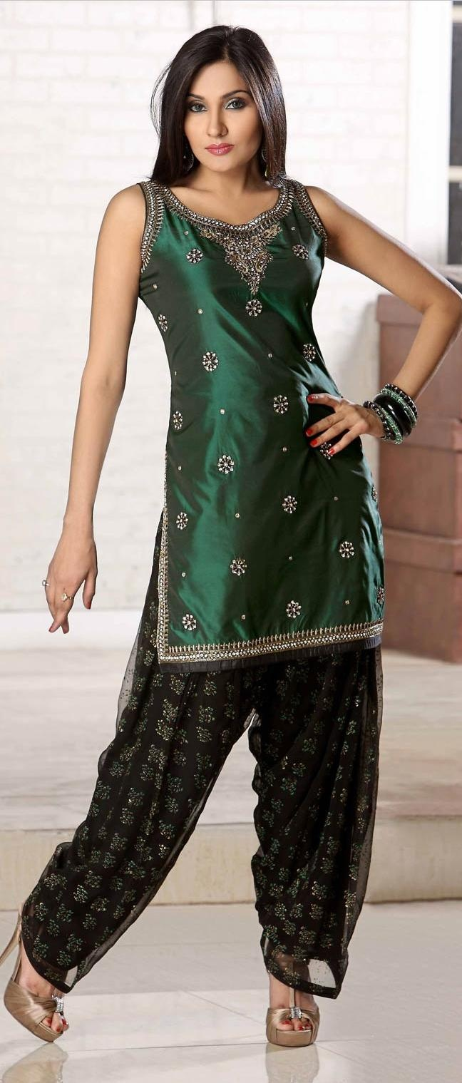 Bottle #Green Art #Silk Salwar Suit @ $144.12 | Shop Now @ http://www.utsavfashion.com/store/sarees-large.aspx?icode=krf46