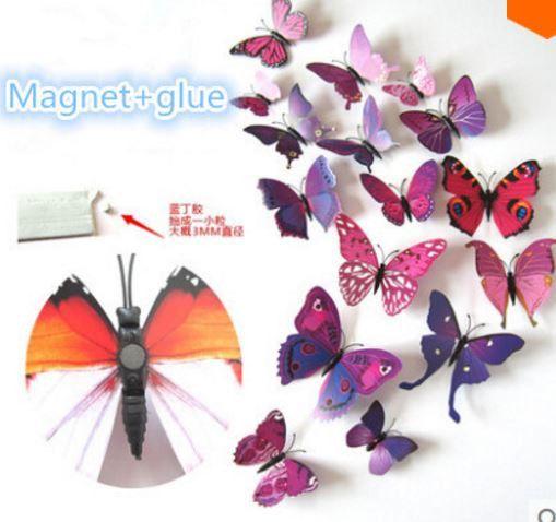 3D Motyle 12 sztuk z magnesem fashion, Dom, Motyl w Schmuck na DaWanda.com