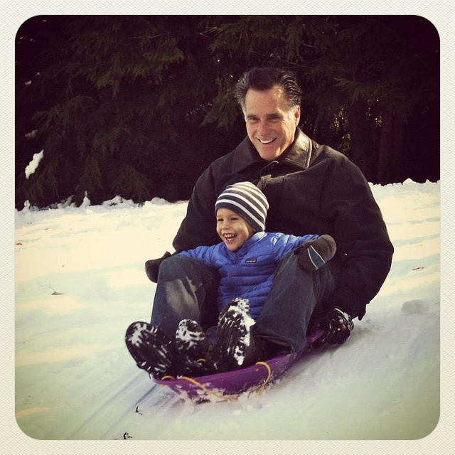 I love this picture of Mitt and Miles from the Halloween 2011 snowstorm.