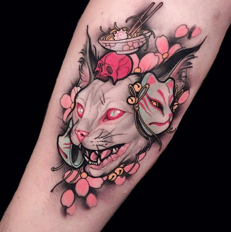 tattoos ink inked neo traditional neotraditional traditional flower japanese colors cat