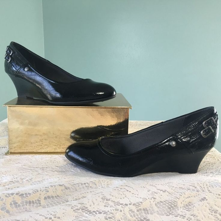 Black Patent Leather Pumps Wedge Heel Size 9 Wide Casual Career Work Lifestride #LifeStride #Classics #Casual