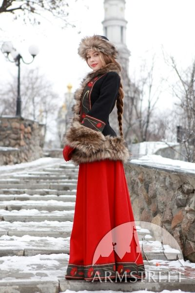Wool coat with fur hat and muff