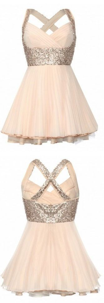 Gorgeous A-line Sweetheart Knee-length Sequin Chiffon Homecoming Dress