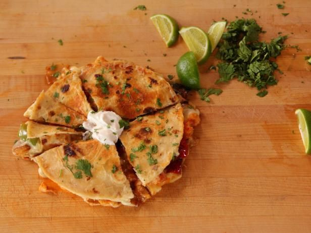 Get Quesadillas with Shrimp and Peppers Recipe from Food Network